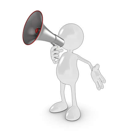 3d cartoon character with megaphone. Please see my portfolio for more in the series. Stock Photo