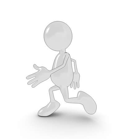 3d cartoon character running. Please see my portfolio for more in the series. Stock Photo - 5700308