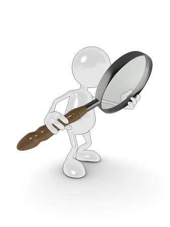 3d cartoon character searching with magnifying glass. Please see my portfolio for more in the series. Stock Photo - 5700294