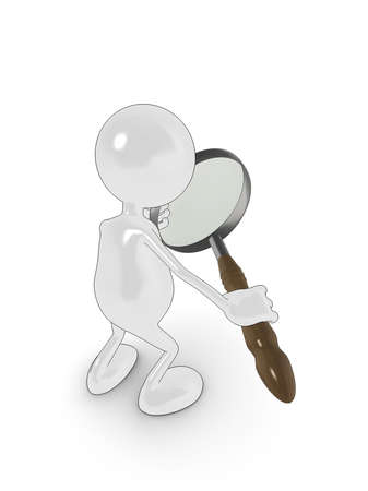 3d cartoon character searching with magnifying glass. Please see my portfolio for more in the series. Stock Photo - 5700290