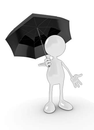 3d cartoon character holding umbrella. Please see my portfolio for more in the series. photo