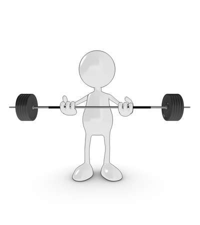3d cartoon character lifting heavy weights. Please see my portfolio for more in the series. photo