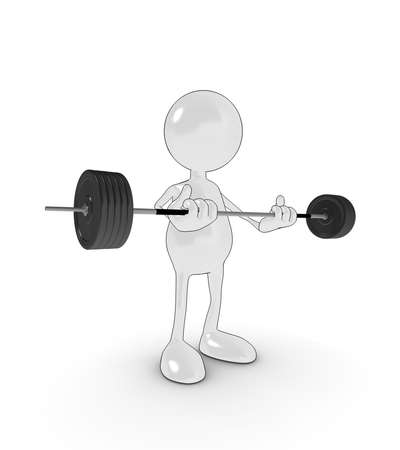 heavy: 3d cartoon character lifting heavy weights. Please see my portfolio for more in the series.
