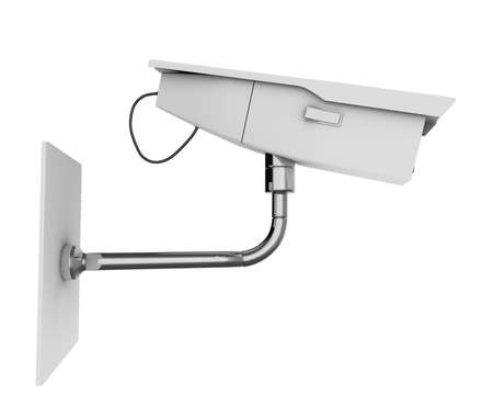 CCTV camera viewed from the side. High quality 3d illustration, isolated on a white background. Stock Illustration - 5735313