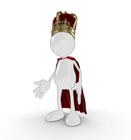 Shiny 3d cartoon character dressed as a king, with crown and cloak, isolated on a white background. photo