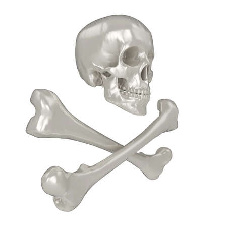 cross bones: Shiny 3d Skull and Crossbones, isolated on a white background.
