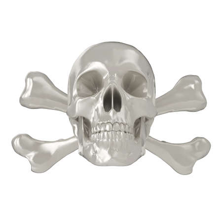 cross bone: Shiny 3d Skull and Crossbones, isolated on a white background.