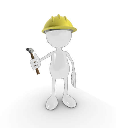 3d cartoon character with hard hat and hammer, isolated on a white background. Stock Photo