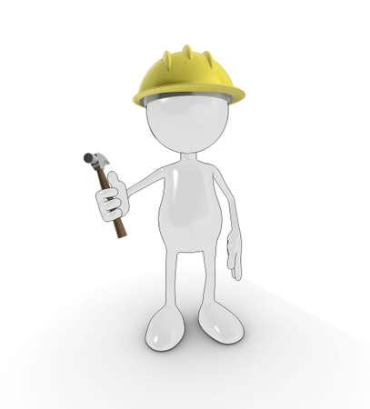 personnage de dessin animé 3D avec chapeau dur et marteau, isolé sur un fond blanc. Banque d'images