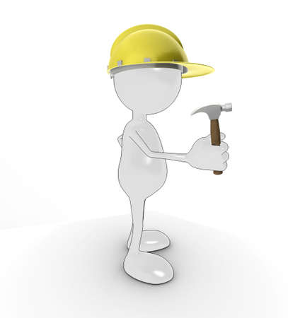3d cartoon character with hard hat and hammer, isolated on a white background. photo