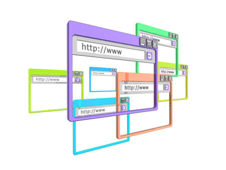 3d Illustration of internet browser windows, isolated on a white background. Part of a series of browser window, and internet concept images. Stock Illustration - 5741960