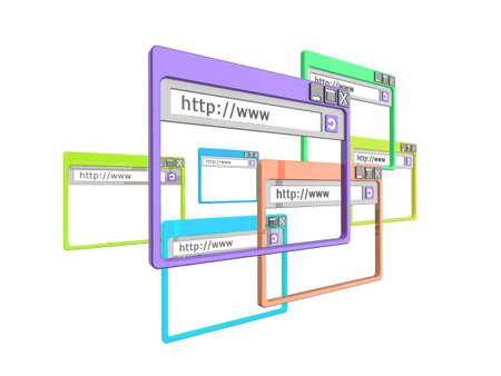 concept images: illustrazione 3D delle finestre del browser internet, isolato su uno sfondo bianco. Parte di una serie di finestra del browser e le immagini del concetto di internet.  Archivio Fotografico