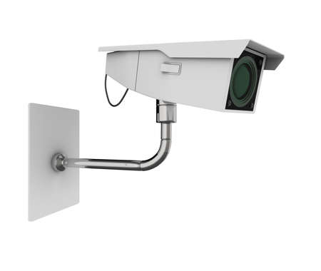 closed circuit television: Surveillance camera viewed from the side. High quality 3d illustration, isolated on a white background. Stock Photo