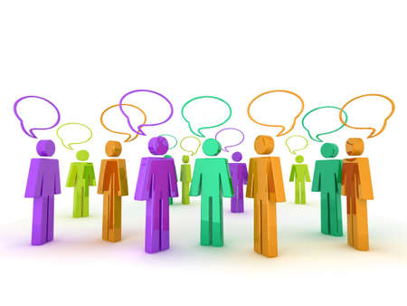 3d Illustration of lots of characters with speech bubbles. Could be used to represent an online chat community, a party, or diversity etc illustration