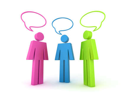 Illustration of 3 coloured (colored) characters with 3d speech bubbles. illustration