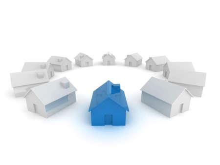 monopolio: Ilustraci�n de un c�rculo de casas con un pie fuera.  Foto de archivo