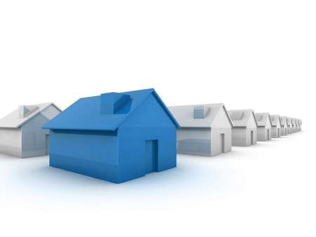 monopolio: Casa verde en la imagen de concepto de pie fuera de la multitud de primer plano