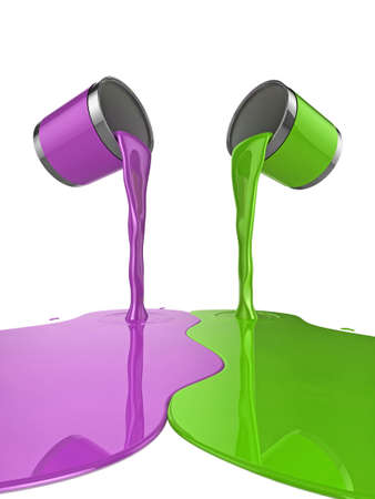 printing house: High quality illustration of a pair of paint cans pouring glossy paint onto the floor