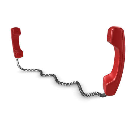 Shiny red phone illustration with black cord, isolated on a white background. illustration