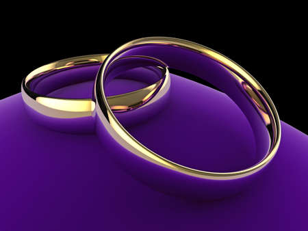 High quality close up illustration of a pair of wedding rings on a purple velvet cushion. illustration