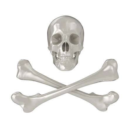 Shiny 3d Skull and Crossbones, isolated on a white background. Stock Photo - 5741966