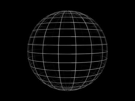 parallel world: Illustration of a metallic wire frame sphere, on a black background.