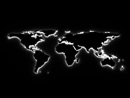 White 3d world map illustration. Stock Illustration - 5754348