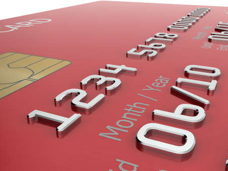 mastercard: Realistic close-up illustration of a red credit card with fictional details. Stock Photo