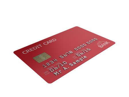 visa card: Realistic illustration of a red credit card with fictional details, isolated on a white background. Stock Photo