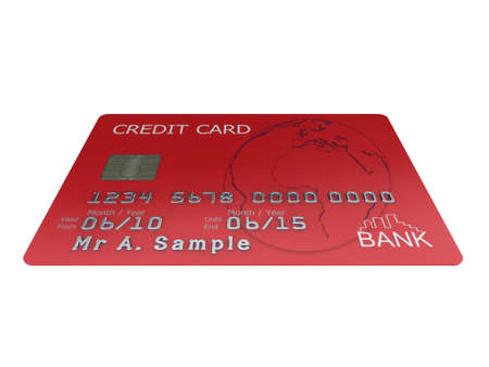 mastercard: Realistic illustration of a red credit card with fictional details, isolated on a white background. Stock Photo