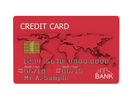 Realistic illustration of a red credit card with fictional details, isolated on a white background. Stock Illustration - 5754333