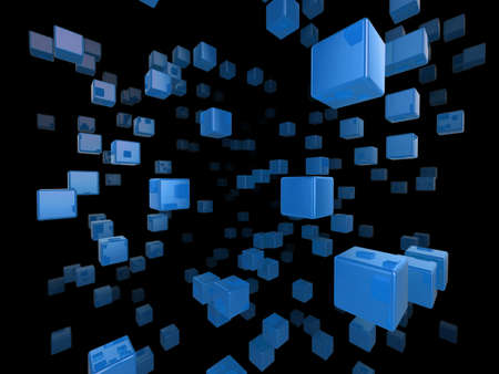 High quality illustration of a network of glossy blue cubes reaching far into the distance Stock Illustration - 5754342