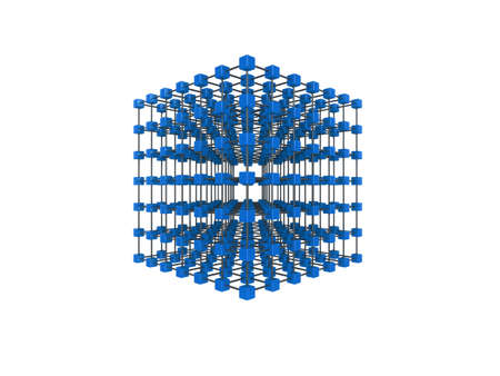 High quality illustration of a network of glossy blue cubes, connected by a wire frame Stock Illustration - 5754351