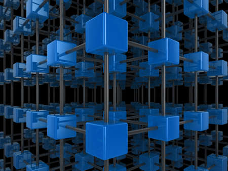 High quality illustration of a network of glossy blue cubes, connected by a wire frame Stock Illustration - 5754353