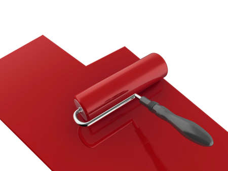 High quality illustration of a red paint roller, isolated on a white background illustration