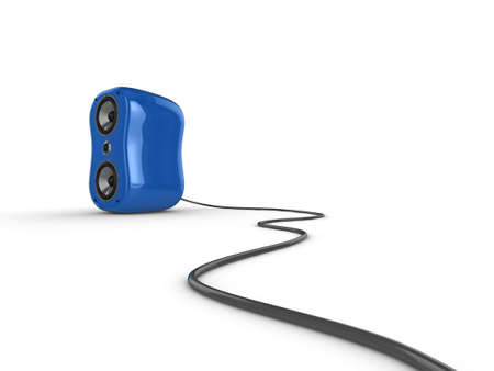 high frequency: Illustration of a blue glossy speaker with wire, isolated on a white background. See my portfolio for more in the series. Stock Photo