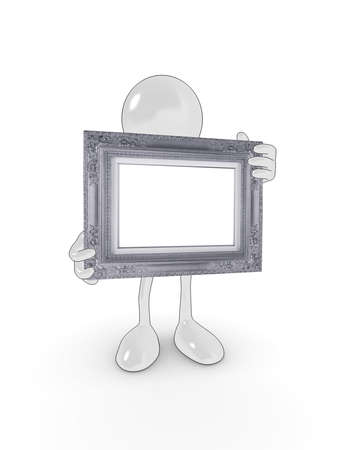 Shiny cartoon character holding a decorative picture frame for your own design. photo