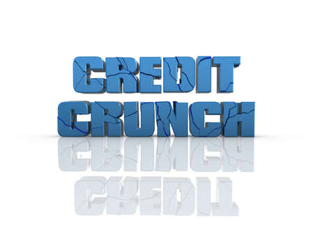 crunch: Cracked Credit Crunch 3d text, on reflective surface. Stock Photo