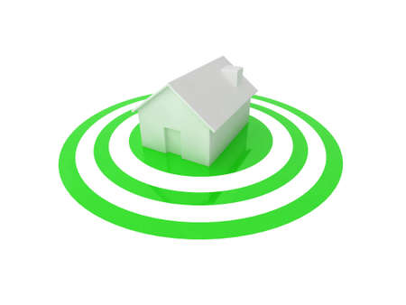 3D illustration of a white house in the centre of a glossy green target. Stock Illustration - 5772249