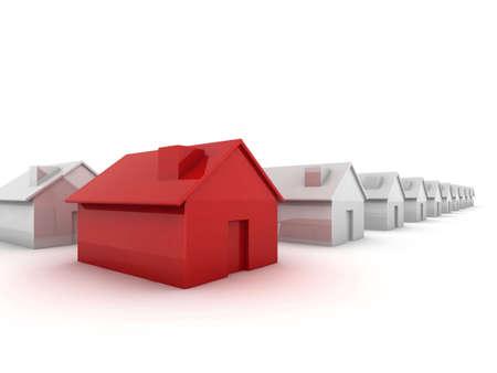 monopolio: Casa de rojo en la imagen de concepto de pie fuera de la multitud de primer plano
