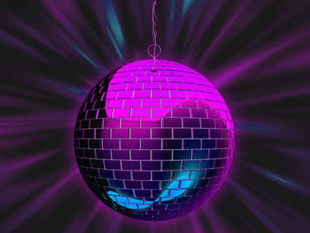 mirrorball: 3d illustration of a disco mirrorball with light rays. Stock Photo