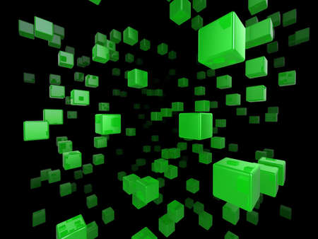 High quality illustration of a network of glossy green cubes reaching far into the distance Stock Illustration - 5772243