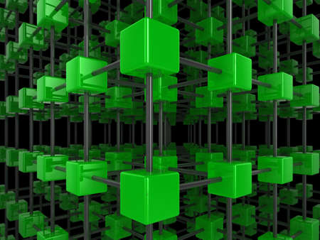 High quality illustration of a network of glossy green cubes, connected by a wire frame Stock Illustration - 5772244