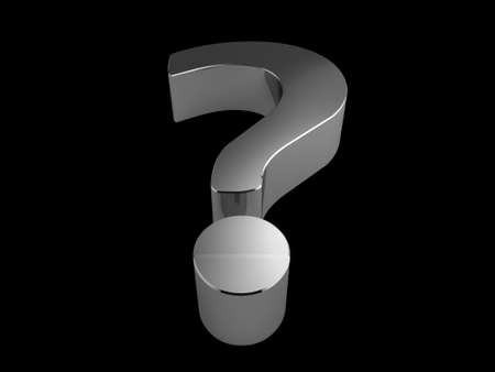 3d silver question mark on black background photo