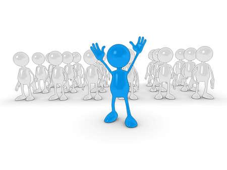 follow the leader: 3D cartoon karakter Staande uit de menigte.