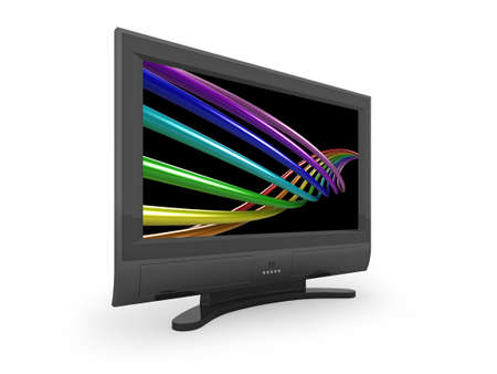 Flat screen TV with colourful rainbow image on the screen. photo