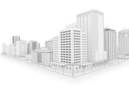 Illustration of a fictional city in a blueprint outline style illustration