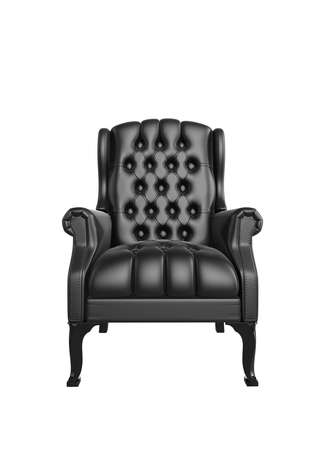 leather armchair: Classic glossy black chair, isolated on a white background Stock Photo
