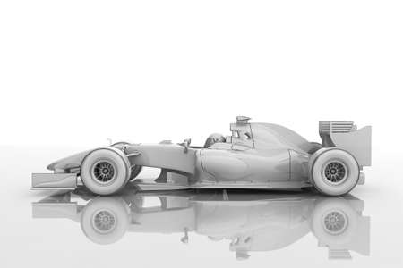 formulas: Illustration of a shiny racing car in a blueprint style