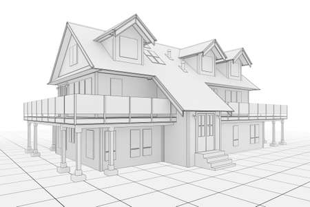 3D illustration of a large house in blueprint style illustration